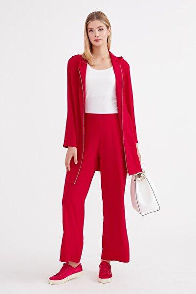 Journey Kadın Kırmızı Arka Bel Lastik Detaylı Rahat Kesim Geniş Paça Pantolon