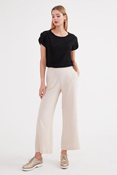 Journey Kadın Bej Arka Bel Lastik Detaylı Rahat Kesim Geniş Paça Pantolon