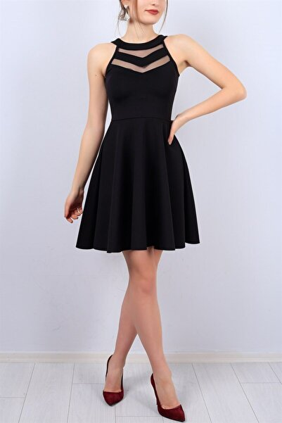lovebox Esnek Scuba Kumaş Transparan Detaylı Siyah Abiye Elbise Siyah Mezuniyet Elbisesi