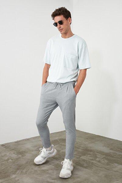 TRENDYOL MAN Gri Erkek Beli Lastikli Slim Fit Pantolon TMNAW21PL0107