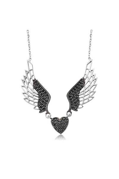 Gumush Kadın Siyah Kanatlı Kalp Gümüş Kolye