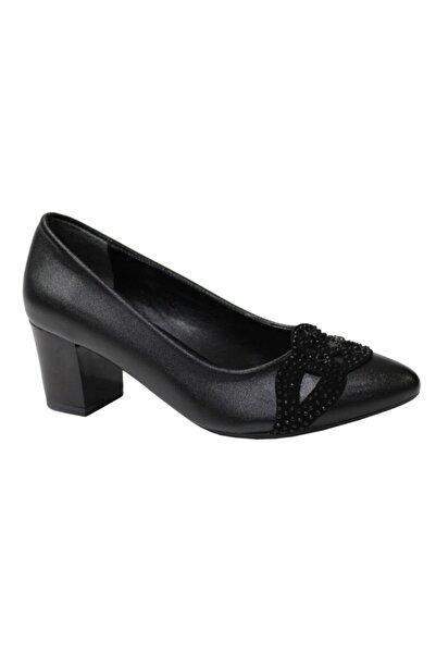 Erdem Kadın Siyah Kalın Topuklu Ayakkabı 0346