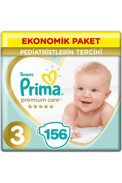 Prima Premium Care 3 Beden Ekonomik Paket 6-10 kg (3*52) 156 Adet Bebek Bezi