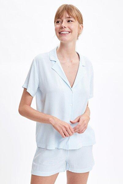 DeFacto Fit Kadın Blue Çizgili Gömlek Tasarımlı Pijama Takımı S2681AZ20HS