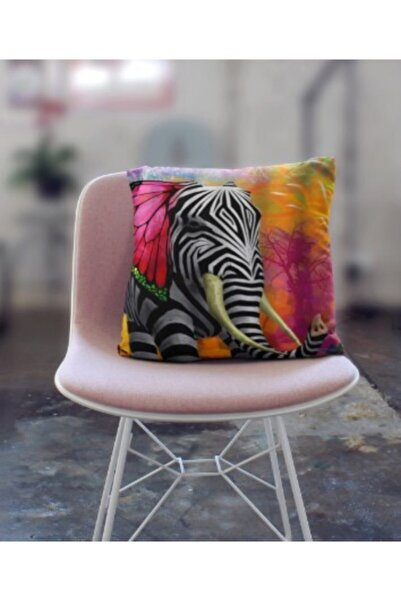 Anka Fil Zebra Desenli Taytüyü Kırlent Kılıfı 42x42 Cm