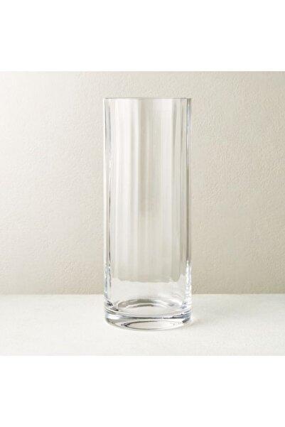 GLASSY Silindir Rölyefli Cam Vazo (15 Cm Çap-30 Cm Yükseklik)