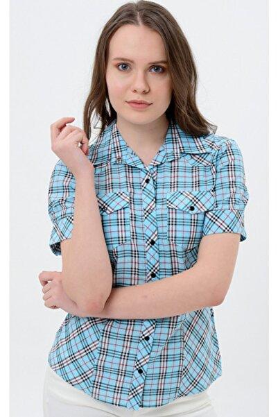 Sima Kadın Açık Mavi Kareli Gömlek Shop