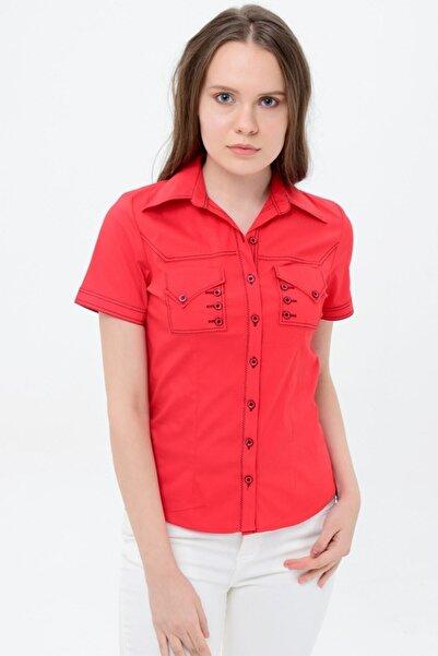 Sima Kadın Kırmızı Kısa Kol Gömlek
