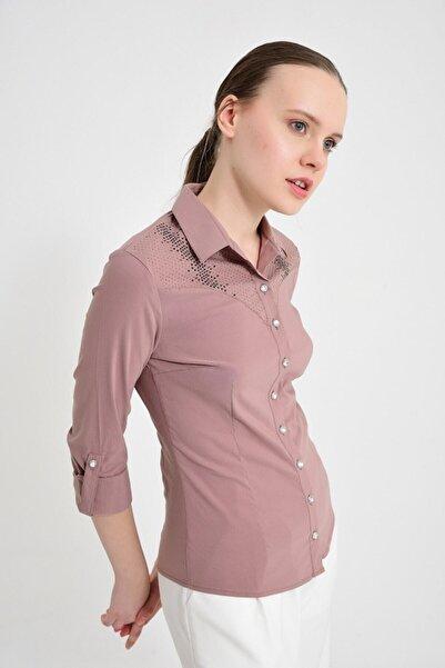 Sima Kadın Vizon Göğüs Taşlı Gömlek