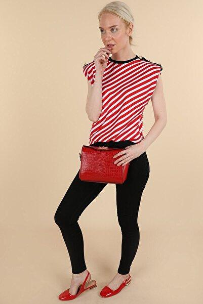 Oblavion Kadın Kırmızı Çizgili Vatkalı Kolsuz T-shirt
