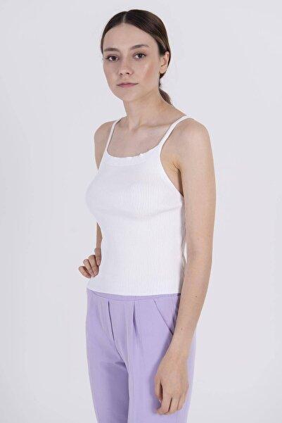 Addax Kadın Beyaz Triko Atlet A10148 - İ10 ADX-0000022761