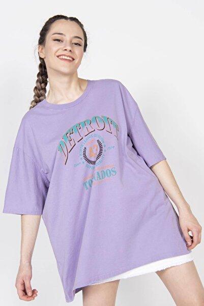 Addax Kadın Eflatun Önü Baskılı Tişört ADX-0000022237
