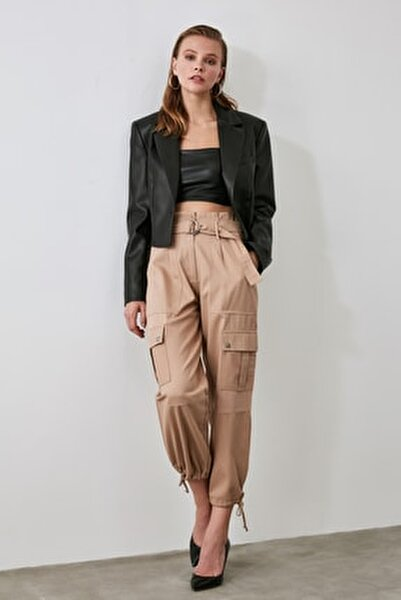Bej Kemerli Cep Detaylı Kargo Pantolon TWOAW21PL0117