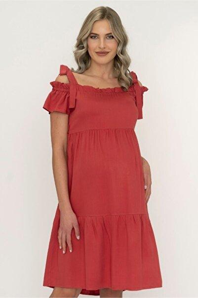 Entarim Kadın Kırmızı ıMercan Hamile Elbise