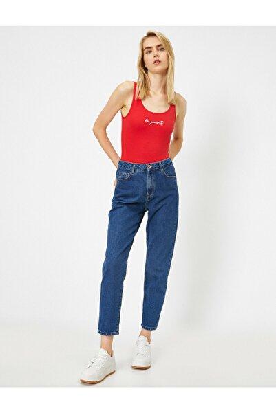 Koton Kadın Mavi Yüksek Bel Mom Jeans