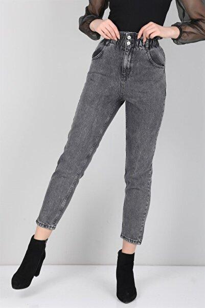 Kadın Antrasit Beli Lastikli Yüksek Bel Mom Kot Jean Pantolon zro-stck-40
