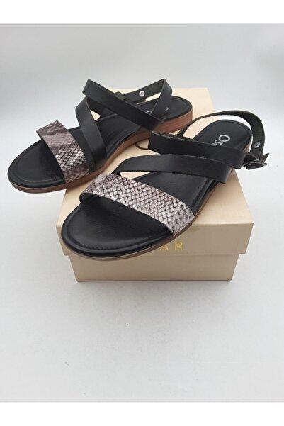 Oscar Kadın Siyah Yılanlı Hakiki Deri Sandalet 633