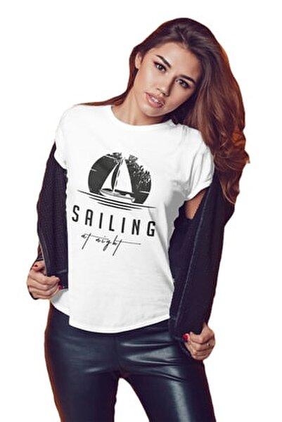 Kadın Beyaz T-shirt SKT001BSAILING