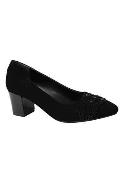 Erdem Kadın Siyah Nubuk Orta Topuklu Ayakkabı 0346