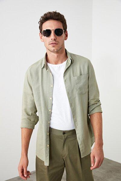 TRENDYOL MAN Haki Erkek Slim Fit Gömlek TMNSS20GO0605