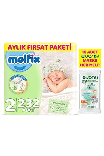 Molfix Bebek Bezi 2 Beden Mini Aylık Fırsat Paketi 232 Adet + Evony Maske 10'lu Hediyeli