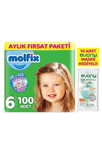Molfix Bebek Bezi 6 Beden Ekstra Large Aylık Fırsat Paketi 100 Adet + Evony Maske 10'lu Hediyeli