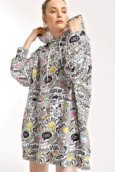 Bigdart Kadın Beyaz Grafik Desenli Oversize Sweat Elbise 4125bgd19