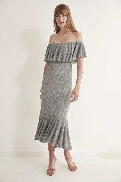 JOIN US Kadın Gri Simli Volanlı Arkası Çapraz Bantlı Astarlı Elbise  2020S126