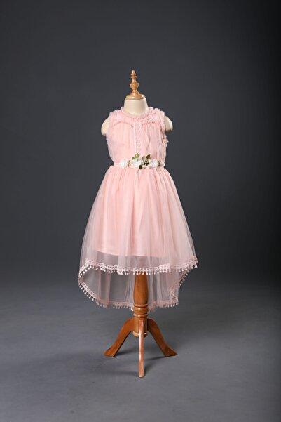 Seramis Kız Çocuk Pembe Tül Detaylı Brodeli  Elbise