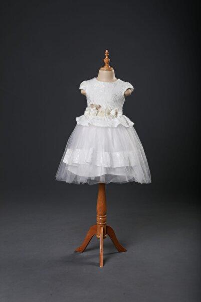 Seramis Beyaz Çiçek Desenli Çiçek Kemerli Kız Çocuk Elbise