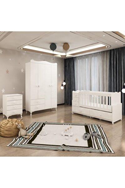 Garaj Home Melina Yıldız Beyaz 4 Kapaklı Bebek Odası Takımı - Beyaz