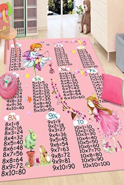 Pembe Çarpım Tablosu Desenli Renkli Çocuk Halısı