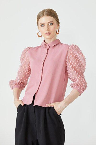 Sementa Kadın Pudra Balon Kol Gömlek