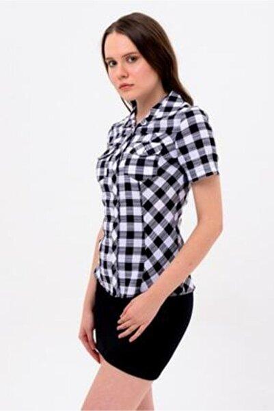 Sima Kadın Siyah Kareli Kısa Kol Gömlek