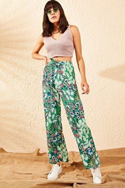Kadın Yeşil Beli Lastikli Çiçek Desenli Bol Paça Pantolon 10101003