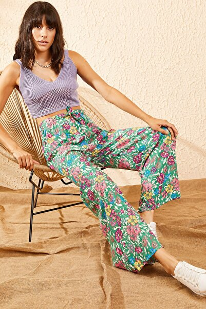 Bianco Lucci Kadın Yeşil Beli Lastikli Yaprak Çiçek Desenli Bol Paça Pantolon 10101004