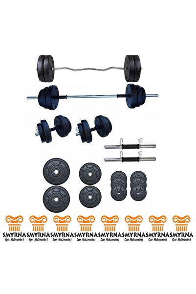 Smyrna Spor 45 Kg Halter Seti Ve Dambıl Seti Ağırlık Fitness Seti + Z Bar