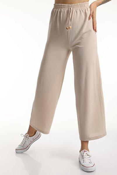 MD trend Kadın Bej Bel Lastikli Bağcıklı Salaş Bol Pantolon Mdt6836