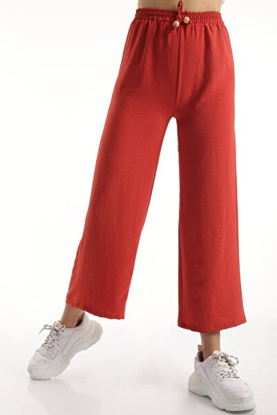 MD trend Kadın Kiremit Bel Lastikli Bağcıklı Salaş Bol Pantolon Mdt6836