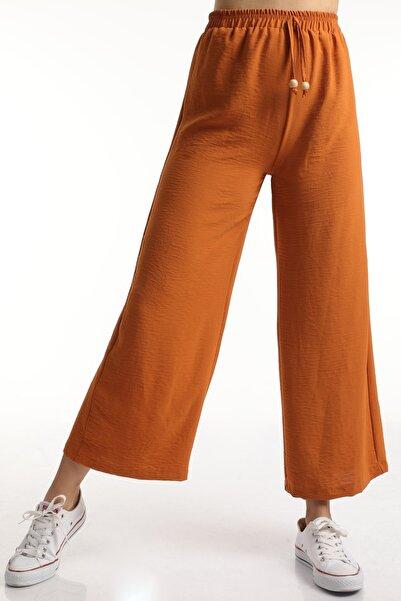MD trend Kadın Taba Bel Lastikli Bağcıklı Salaş Bol Pantolon Mdt6836