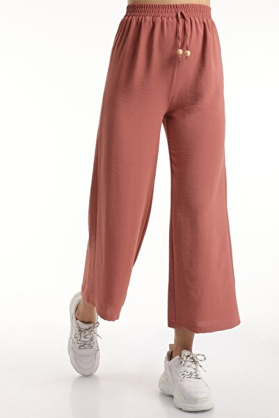 MD trend Kadın Gül Kurusu Bel Lastikli Bağcıklı Salaş Bol Pantolon Mdt6836