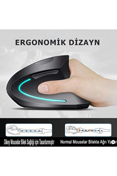 Ploody (pilli)dikey Ergonomik Kablosuz Mouse Fare Wireless 2000 Dpı 6