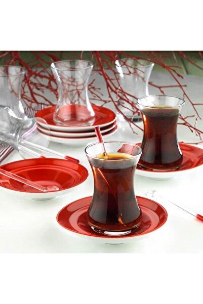 Kütahya Porselen Kırmızı Drop Çay Seti 12 Parça 6 Kişilik 14017