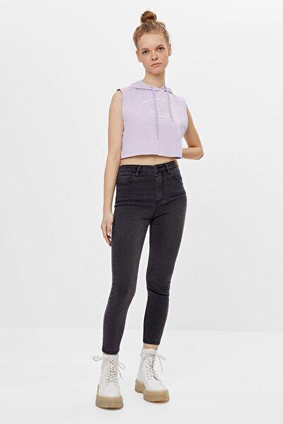 Bershka Kadın Gri Süper Yüksek Bel Pantolon