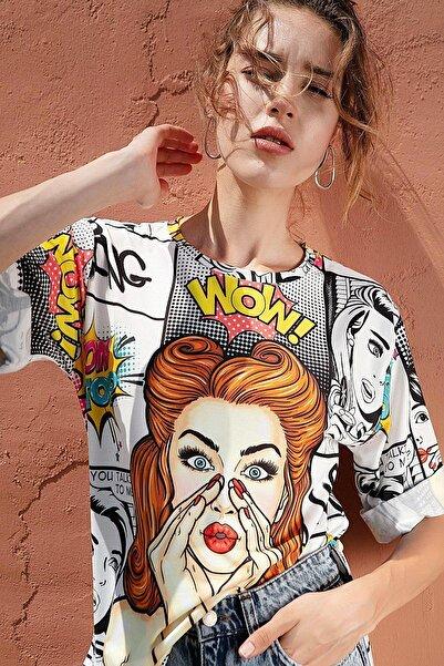 Y-London Kadın Dijital Baskılı Duble Kol Yırtmaçlı Tişört Y20s110-0388