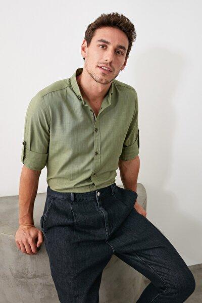 Haki Erkek Düğmeli Yaka Apoletli Slim Fit Uzun Kollu Gömlek TMNSS20GO0189