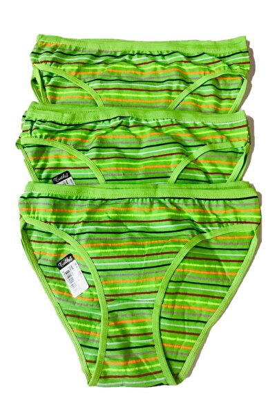 Tutku Kadın  Yeşil 3'lü Paket Çizgili Bikini Tkd643