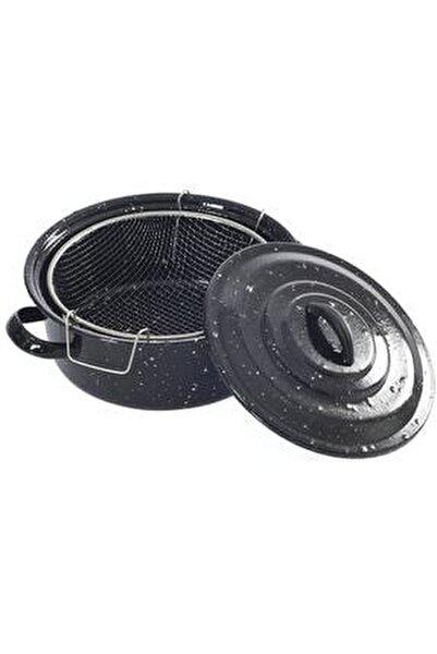 Siyah Kapaklı Emaye Cips Fritöz Kızartma Tenceresi 25 cm
