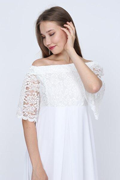 Moda Labio Kadın Beyaz Dantel Elbise