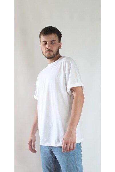 LATLANTE Oversize Kapalı Yaka Beyaz T-shirt